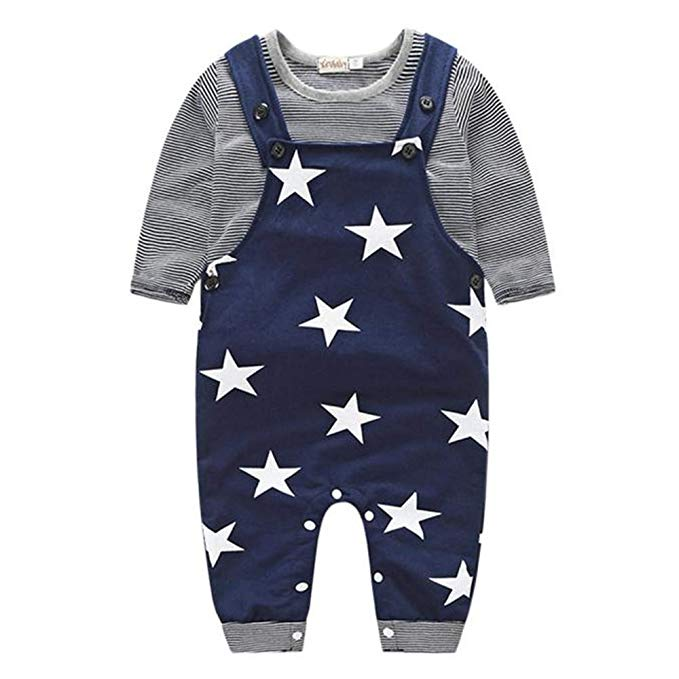 Pantalones de Babero Sombrero General Conjunto de Trajes Traje Beb/é LANSKIRT 3PCS para Reci/én Nacido Beb/é Ni/ño Ni/ña Camiseta a Rayas Top
